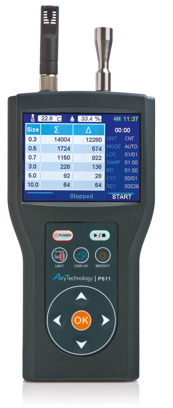 Airy Technology Handheld Particle Counter w/ Temp/Humidity