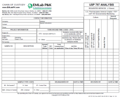 USP 797 Chain of Custody (COC) Form