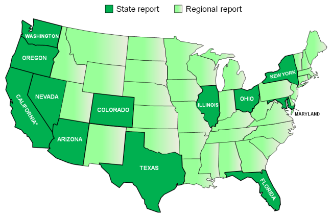 U.S. States and Regions where MoldRANGE Local Climate Reports are currently available